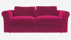canapé 3 places convertible en velours fuchsia Louis Habitat