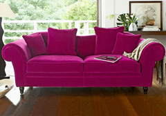 Canapé 3 places velours fuchsia CAMIF