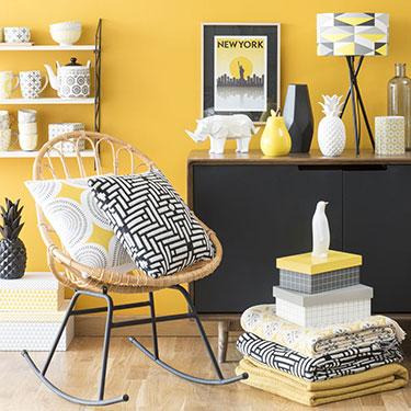 Du jaune dans la chambre et pourquoi pas mobilier for Tableau scandinave jaune
